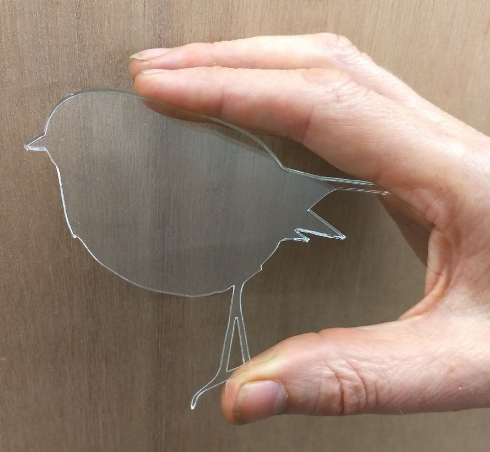 Single Clear Acrylic Robin Shapes, Laser Cut 3mm Perspex